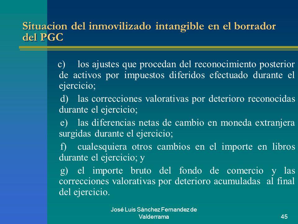 José Luis Sánchez Fernandez de Valderrama45 Situacion del inmovilizado intangible en el borrador del PGC c)los ajustes que procedan del reconocimiento