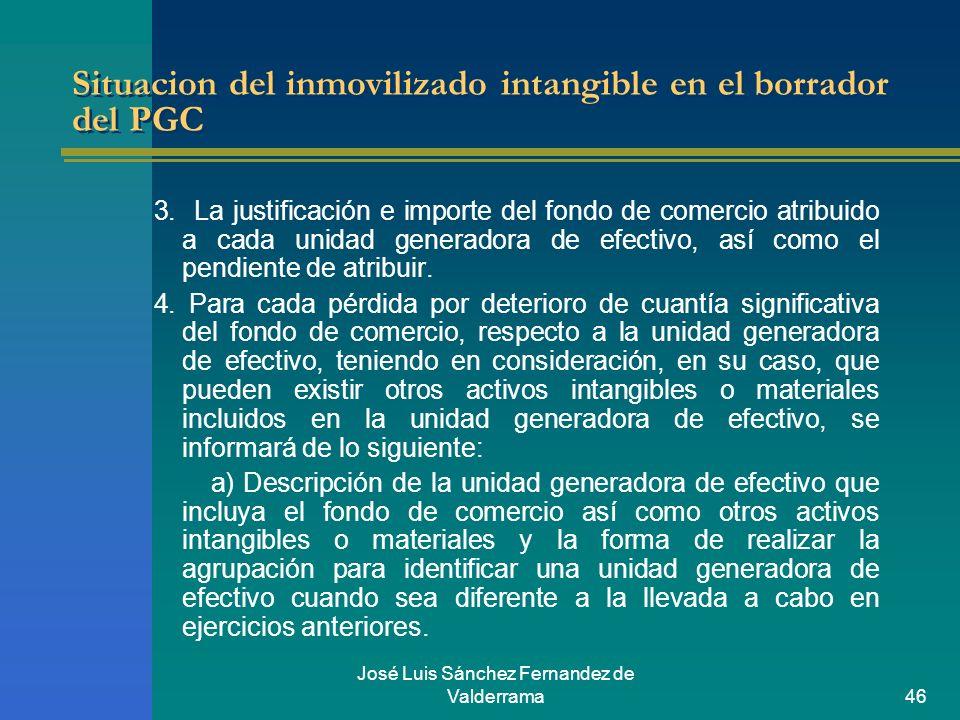 José Luis Sánchez Fernandez de Valderrama46 Situacion del inmovilizado intangible en el borrador del PGC 3. La justificación e importe del fondo de co
