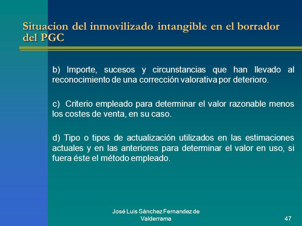 José Luis Sánchez Fernandez de Valderrama47 Situacion del inmovilizado intangible en el borrador del PGC b) Importe, sucesos y circunstancias que han