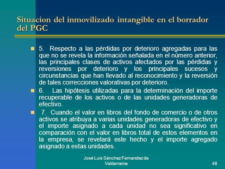 José Luis Sánchez Fernandez de Valderrama48 Situacion del inmovilizado intangible en el borrador del PGC 5. Respecto a las pérdidas por deterioro agre
