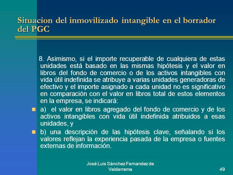 José Luis Sánchez Fernandez de Valderrama49 Situacion del inmovilizado intangible en el borrador del PGC 8. Asimismo, si el importe recuperable de cua