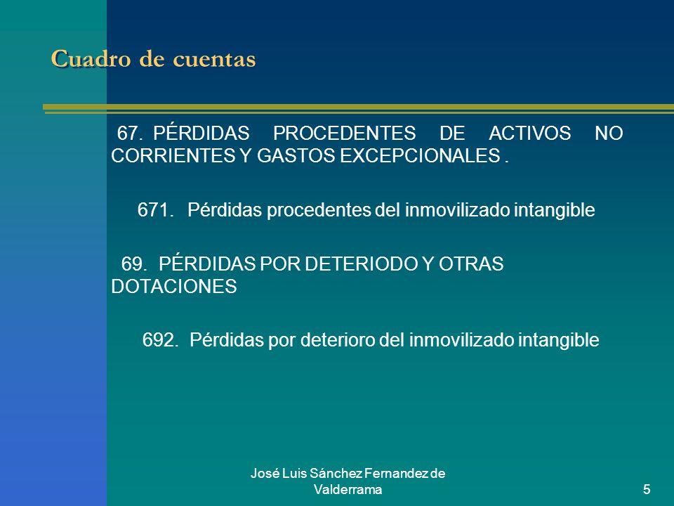 José Luis Sánchez Fernandez de Valderrama5 Cuadro de cuentas 67.PÉRDIDAS PROCEDENTES DE ACTIVOS NO CORRIENTES Y GASTOS EXCEPCIONALES. 671. Pérdidas pr