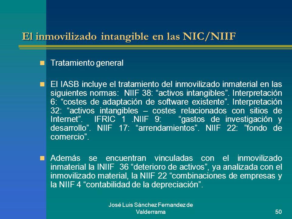 José Luis Sánchez Fernandez de Valderrama50 El inmovilizado intangible en las NIC/NIIF Tratamiento general El IASB incluye el tratamiento del inmovili