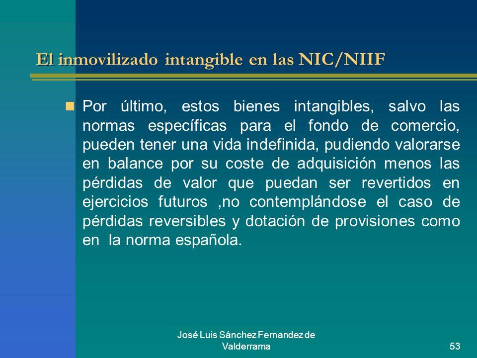José Luis Sánchez Fernandez de Valderrama53 El inmovilizado intangible en las NIC/NIIF Por último, estos bienes intangibles, salvo las normas específi
