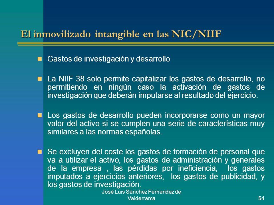 José Luis Sánchez Fernandez de Valderrama54 El inmovilizado intangible en las NIC/NIIF Gastos de investigación y desarrollo La NIIF 38 solo permite ca