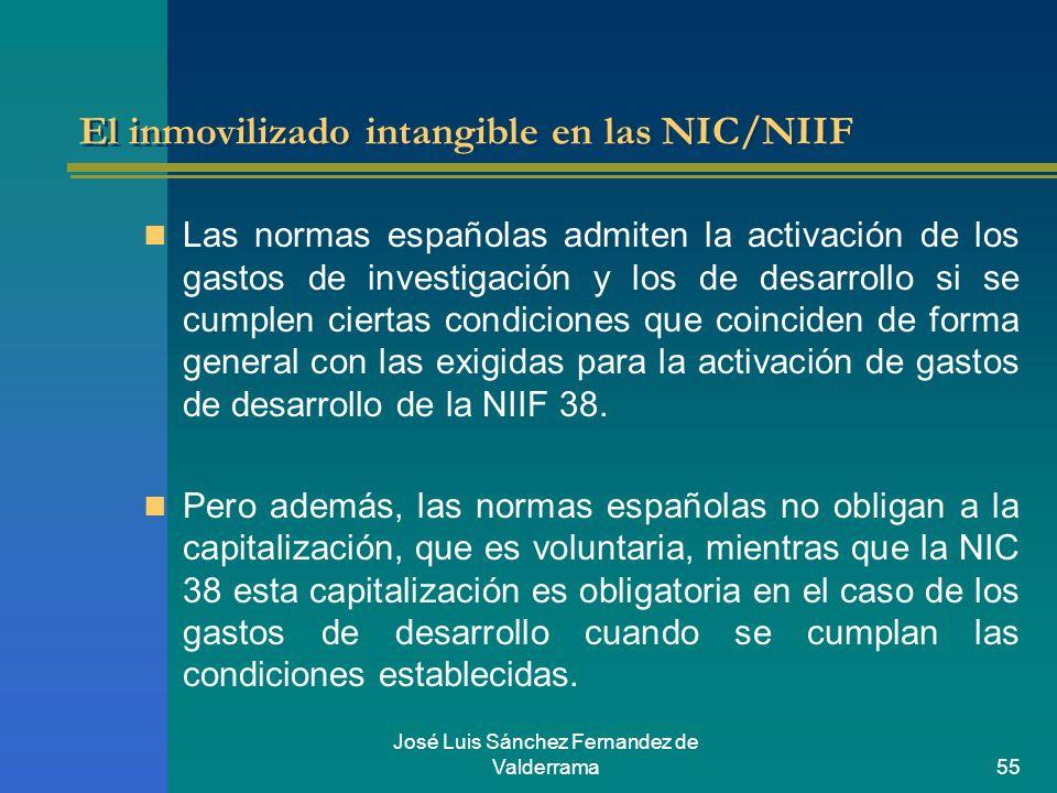 José Luis Sánchez Fernandez de Valderrama55 El inmovilizado intangible en las NIC/NIIF Las normas españolas admiten la activación de los gastos de inv