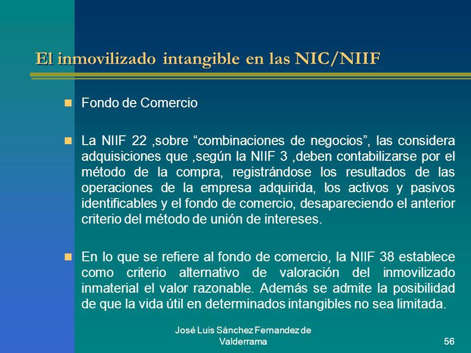 José Luis Sánchez Fernandez de Valderrama56 El inmovilizado intangible en las NIC/NIIF Fondo de Comercio La NIIF 22,sobre combinaciones de negocios, l
