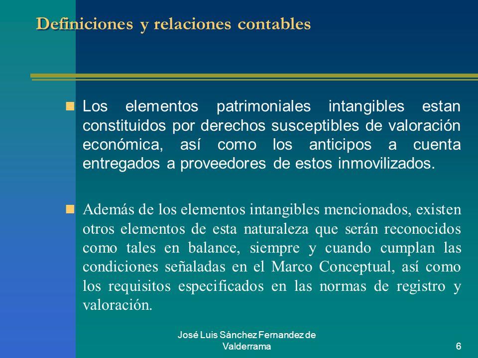José Luis Sánchez Fernandez de Valderrama6 Definiciones y relaciones contables Los elementos patrimoniales intangibles estan constituidos por derechos