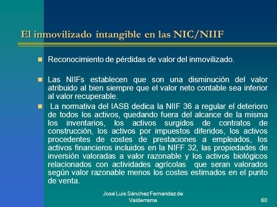 José Luis Sánchez Fernandez de Valderrama60 El inmovilizado intangible en las NIC/NIIF Reconocimiento de pérdidas de valor del inmovilizado. Las NIIFs