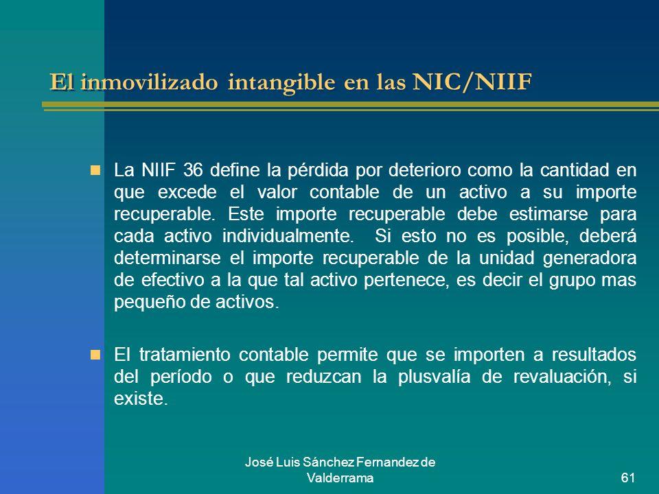 José Luis Sánchez Fernandez de Valderrama61 El inmovilizado intangible en las NIC/NIIF La NIIF 36 define la pérdida por deterioro como la cantidad en