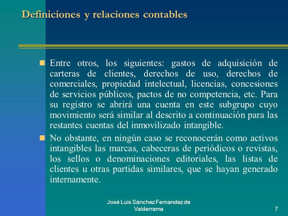 José Luis Sánchez Fernandez de Valderrama7 Definiciones y relaciones contables Entre otros, los siguientes: gastos de adquisición de carteras de clien