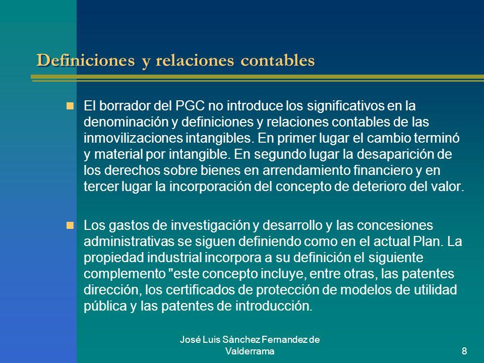 José Luis Sánchez Fernandez de Valderrama8 Definiciones y relaciones contables El borrador del PGC no introduce los significativos en la denominación