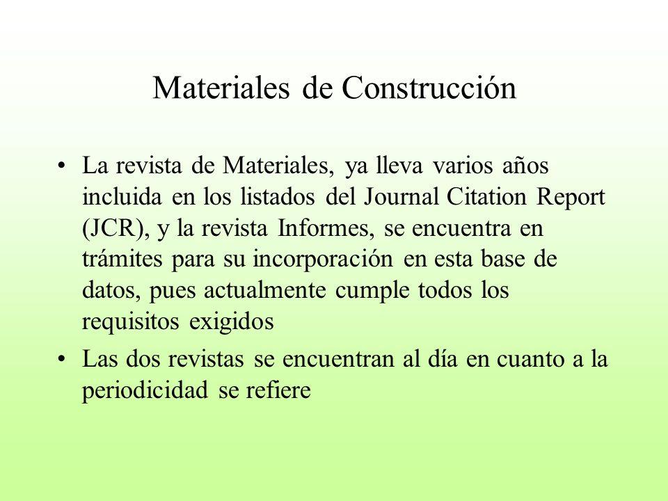 Materiales de Construcción La revista de Materiales, ya lleva varios años incluida en los listados del Journal Citation Report (JCR), y la revista Inf