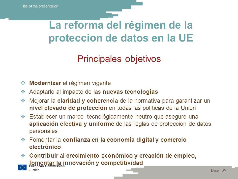 European Commission Justice Date | 10 Title of the presentation La reforma del régimen de la proteccion de datos en la UE Comunicación de la Comisión (COM) 2010) 609 (4/11/2010) « Un enfoque global de la protección de datos personales en la Unión Europea » Indica los cinco elementos de la reforma