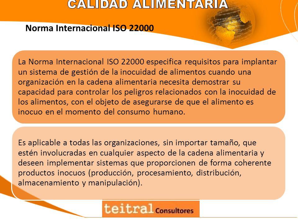 La Norma Internacional ISO 22000 especifica requisitos para implantar un sistema de gestión de la inocuidad de alimentos cuando una organización en la
