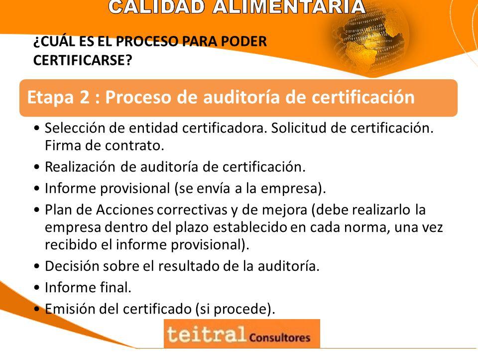 Etapa 2 : Proceso de auditoría de certificación Selección de entidad certificadora. Solicitud de certificación. Firma de contrato. Realización de audi