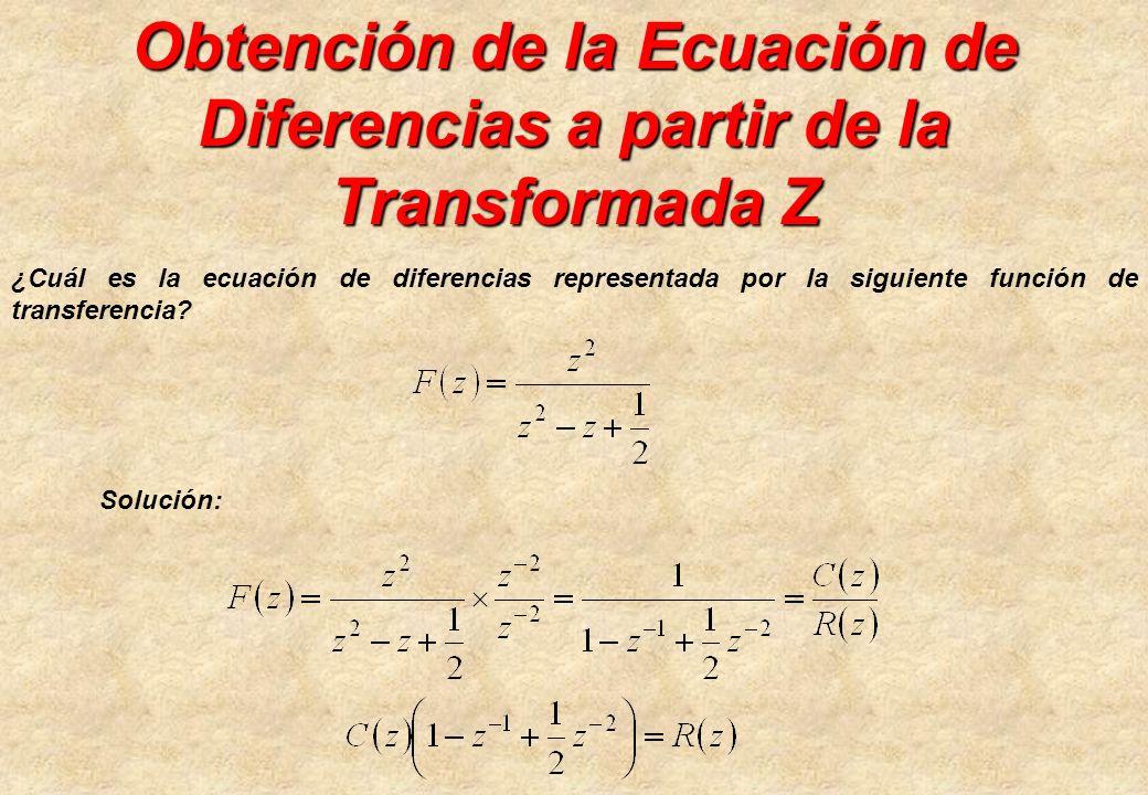 Obtención de la Ecuación de Diferencias a partir de la Transformada Z ¿Cuál es la ecuación de diferencias representada por la siguiente función de tra