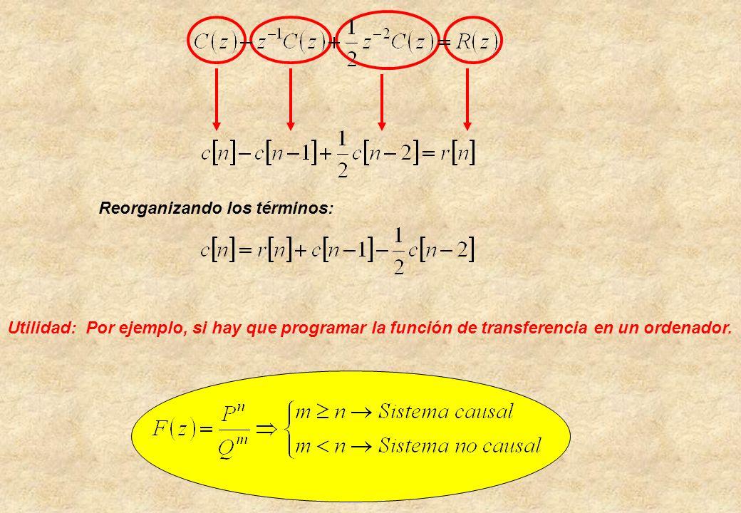 Reorganizando los términos: Utilidad: Por ejemplo, si hay que programar la función de transferencia en un ordenador.