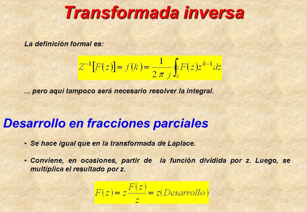 Transformada inversa Desarrollo en fracciones parciales Se hace igual que en la transformada de Laplace. Conviene, en ocasiones, partir de la función