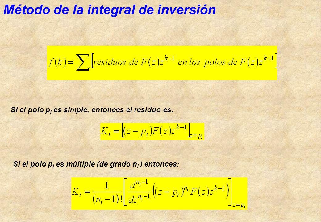 Método de la integral de inversión Si el polo p i es simple, entonces el residuo es: Si el polo p i es múltiple (de grado n i ) entonces: