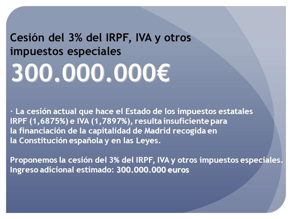 Cesión del 3% del IRPF, IVA y otros impuestos especiales300.000.000 · La cesión actual que hace el Estado de los impuestos estatales IRPF (1,6875%) e IVA (1,7897%), resulta insuficiente para la financiación de la capitalidad de Madrid recogida en la Constitución española y en las Leyes.