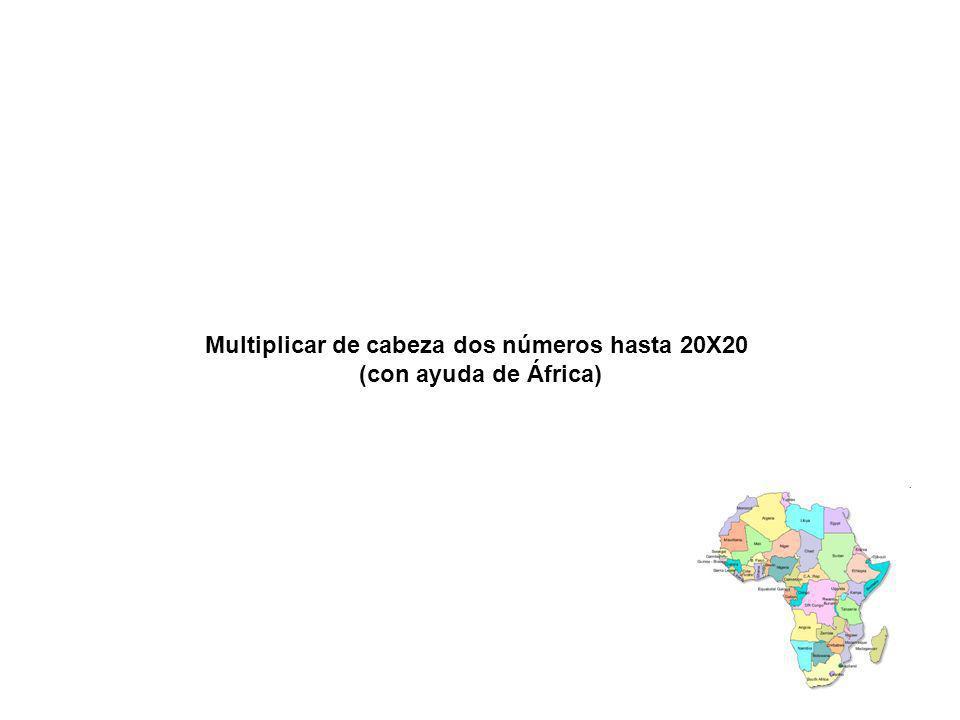 Multiplicar de cabeza dos números hasta 20X20 (con ayuda de África)