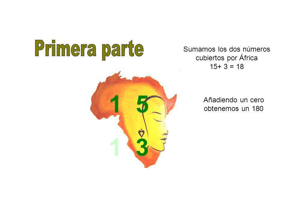 Sumamos los dos números cubiertos por África 15+ 3 = 18 1 5 1 3 Añadiendo un cero obtenemos un 180