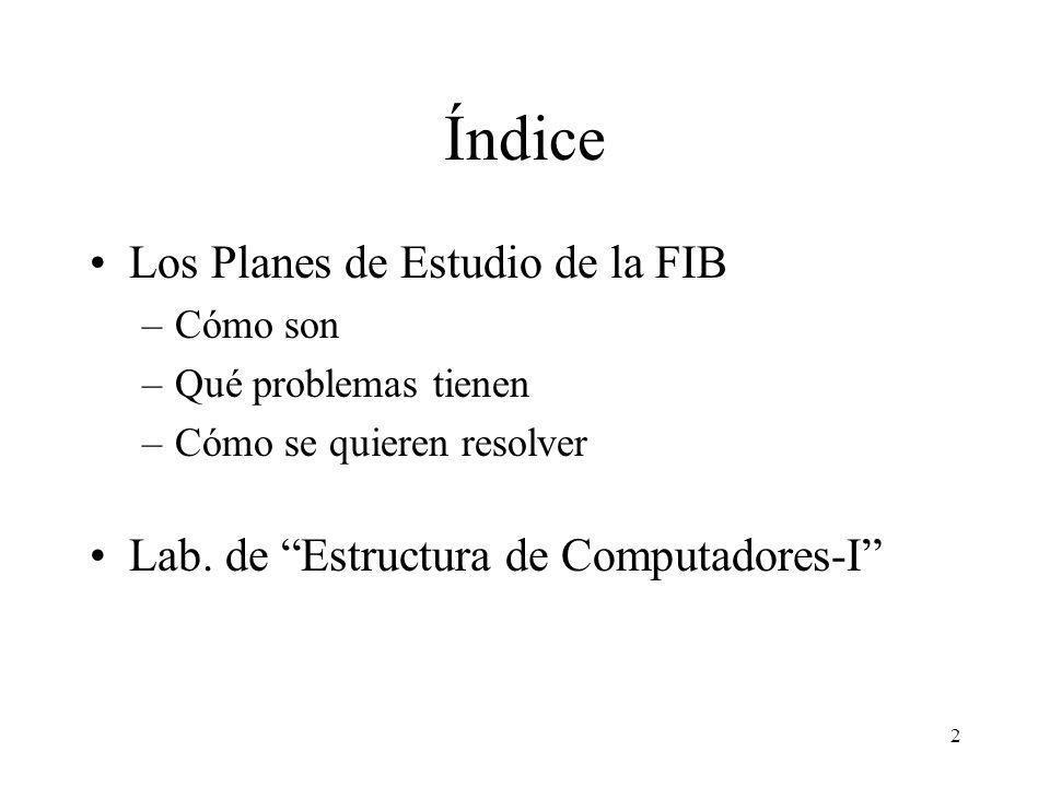 2 Índice Los Planes de Estudio de la FIB –Cómo son –Qué problemas tienen –Cómo se quieren resolver Lab. de Estructura de Computadores-I