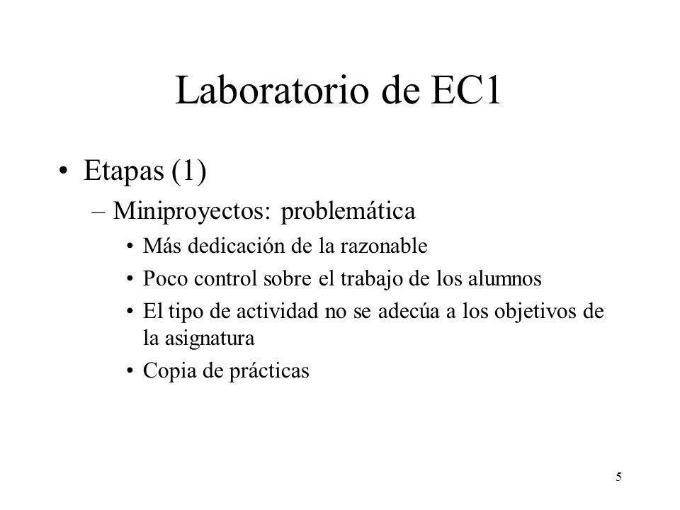 6 Laboratorio de EC1 Etapas (2) –Sesiones dirigidas (de 1996 a 1998) 6 sesiones quincenales Grupos de 2 personas En cada sesión se proponen ejercicios relacionados con un tema de teoría Evaluación –a cada sesión –sólo en la última sesión