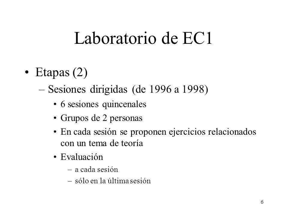 7 Laboratorio de EC1 Etapas (2) –Sesiones dirigidas: problemática Se dedica tiempo de la sesión a repasar apuntes Intervención del profesor bajo demanda Trabajo del grupo no planificado