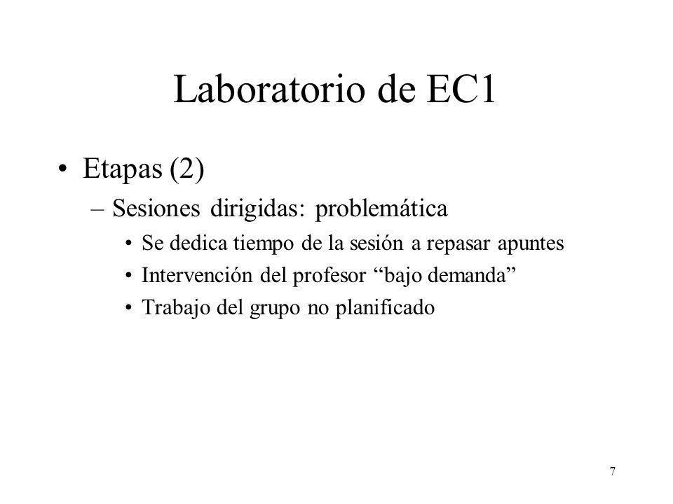 8 Laboratorio de EC1 Etapas (3) –Cuaderno de laboratorio (actualmente) Documento guía para realizar las sesiones –5 sesiones temáticas »Instrucciones básicas »Modos de direccionamiento y tipos de datos »Subrutinas »E/S por encuesta »E/S por interrupción –1 sesión de evaluación