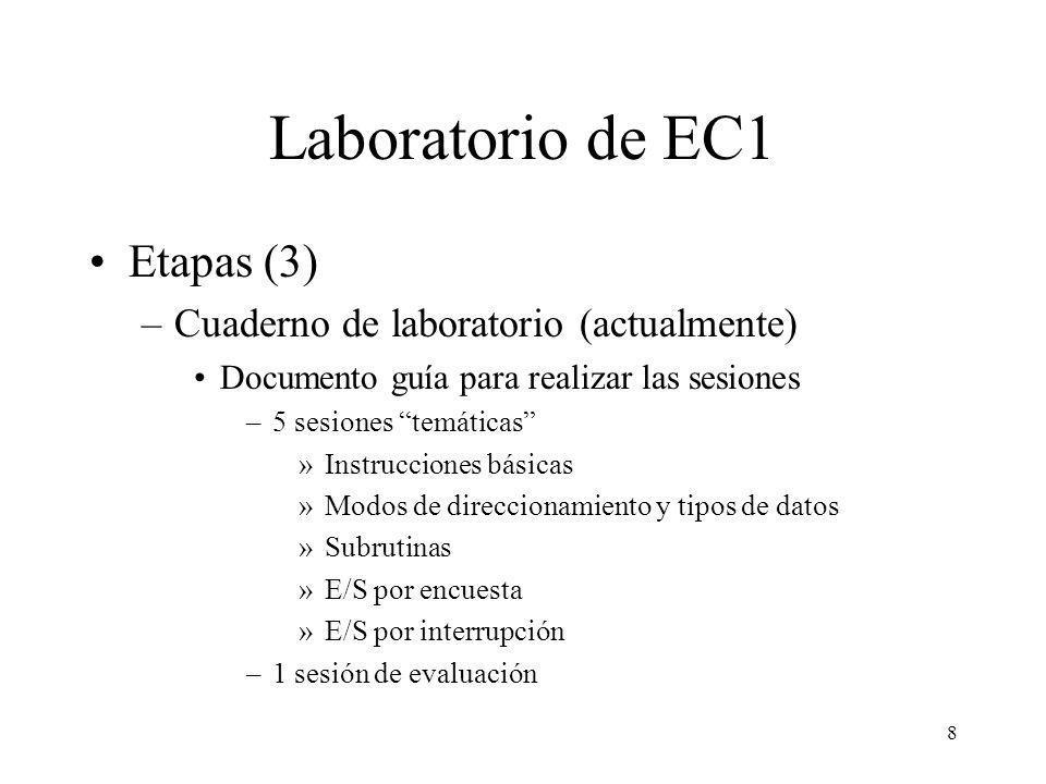 8 Laboratorio de EC1 Etapas (3) –Cuaderno de laboratorio (actualmente) Documento guía para realizar las sesiones –5 sesiones temáticas »Instrucciones