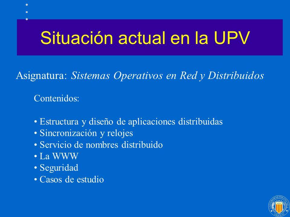 Situación actual en la UPV Asignatura: Sistemas Operativos en Red y Distribuidos Contenidos: Estructura y diseño de aplicaciones distribuidas Sincroni
