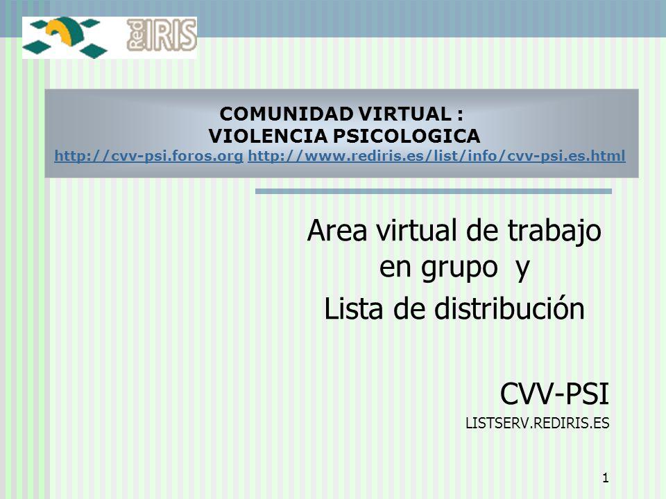 1 Area virtual de trabajo en grupo y Lista de distribución CVV-PSI LISTSERV.REDIRIS.ES COMUNIDAD VIRTUAL : VIOLENCIA PSICOLOGICA http://cvv-psi.foros.