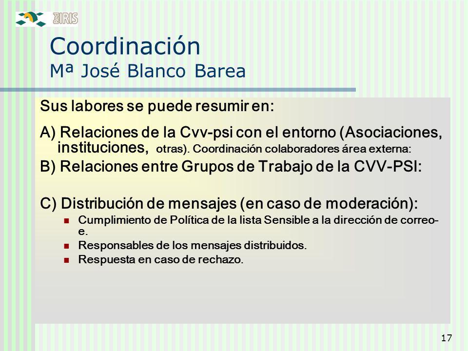 17 Coordinación Mª José Blanco Barea Sus labores se puede resumir en: A) Relaciones de la Cvv-psi con el entorno (Asociaciones, instituciones, otras).
