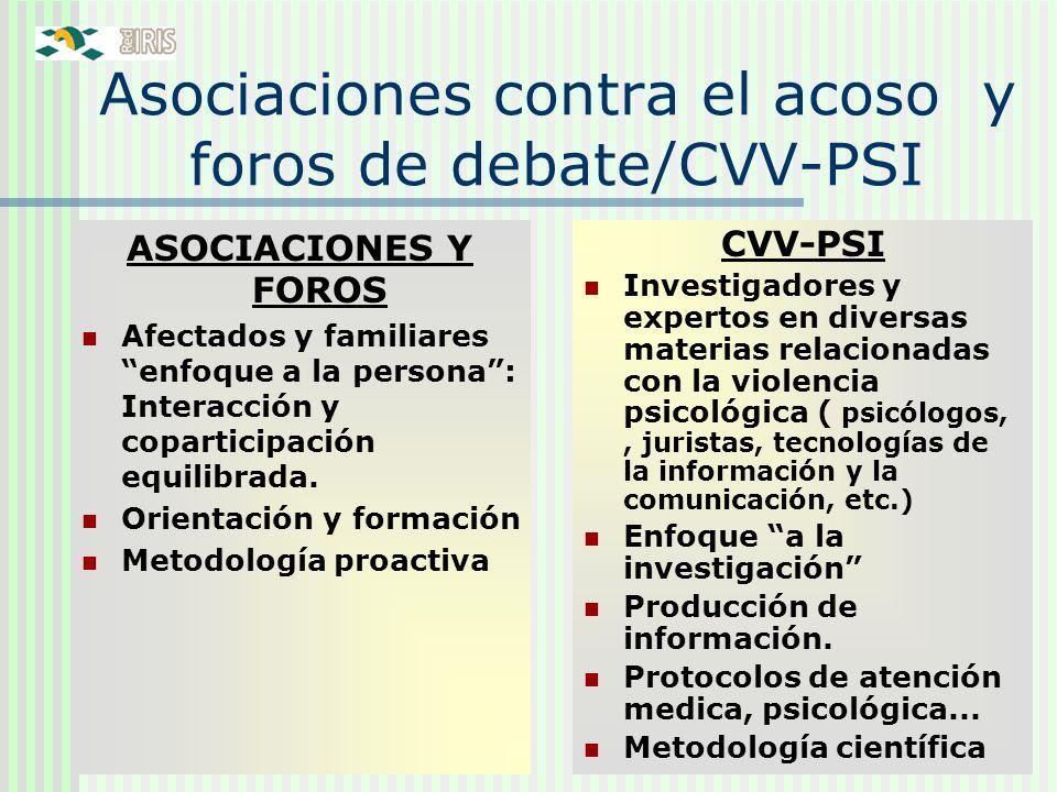 22 Asociaciones contra el acoso y foros de debate/CVV-PSI ASOCIACIONES Y FOROS Afectados y familiares enfoque a la persona: Interacción y coparticipac