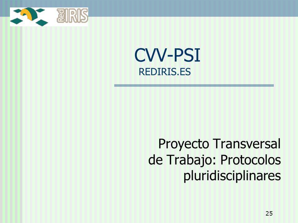 25 CVV-PSI REDIRIS.ES Proyecto Transversal de Trabajo: Protocolos pluridisciplinares