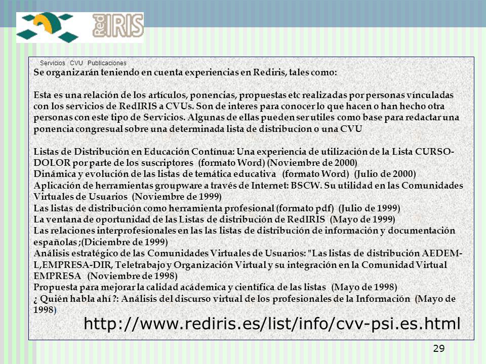 29 Servicios CVU Publicaciones Se organizarán teniendo en cuenta experiencias en Rediris, tales como: Esta es una relación de los artículos, ponencias