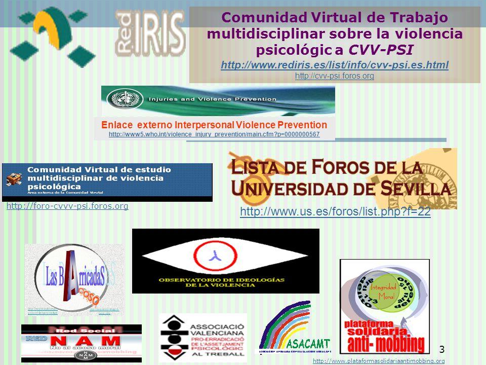 3 Comunidad Virtual de Trabajo multidisciplinar sobre la violencia psicológic a CVV-PSI http://www.rediris.es/list/info/cvv-psi.es.html http://cvv-psi