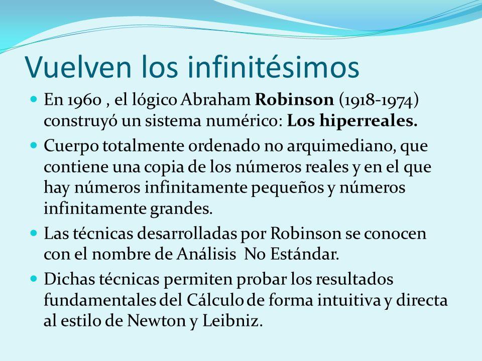 Vuelven los infinitésimos En 1960, el lógico Abraham Robinson (1918-1974) construyó un sistema numérico: Los hiperreales. Cuerpo totalmente ordenado n
