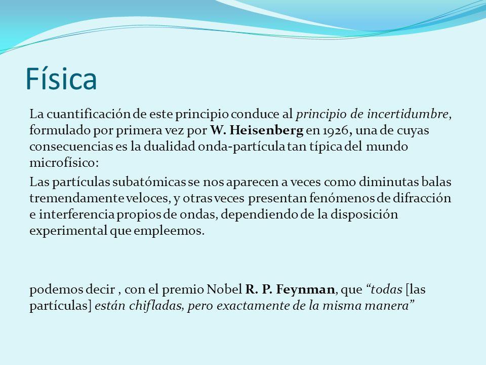 Física La cuantificación de este principio conduce al principio de incertidumbre, formulado por primera vez por W. Heisenberg en 1926, una de cuyas co