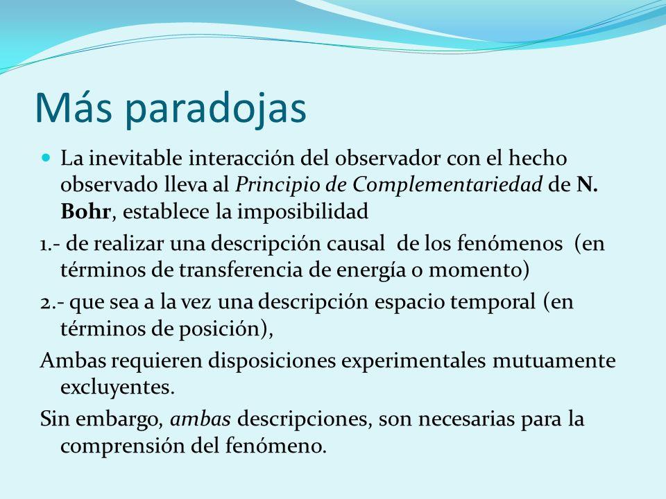Más paradojas La inevitable interacción del observador con el hecho observado lleva al Principio de Complementariedad de N. Bohr, establece la imposib