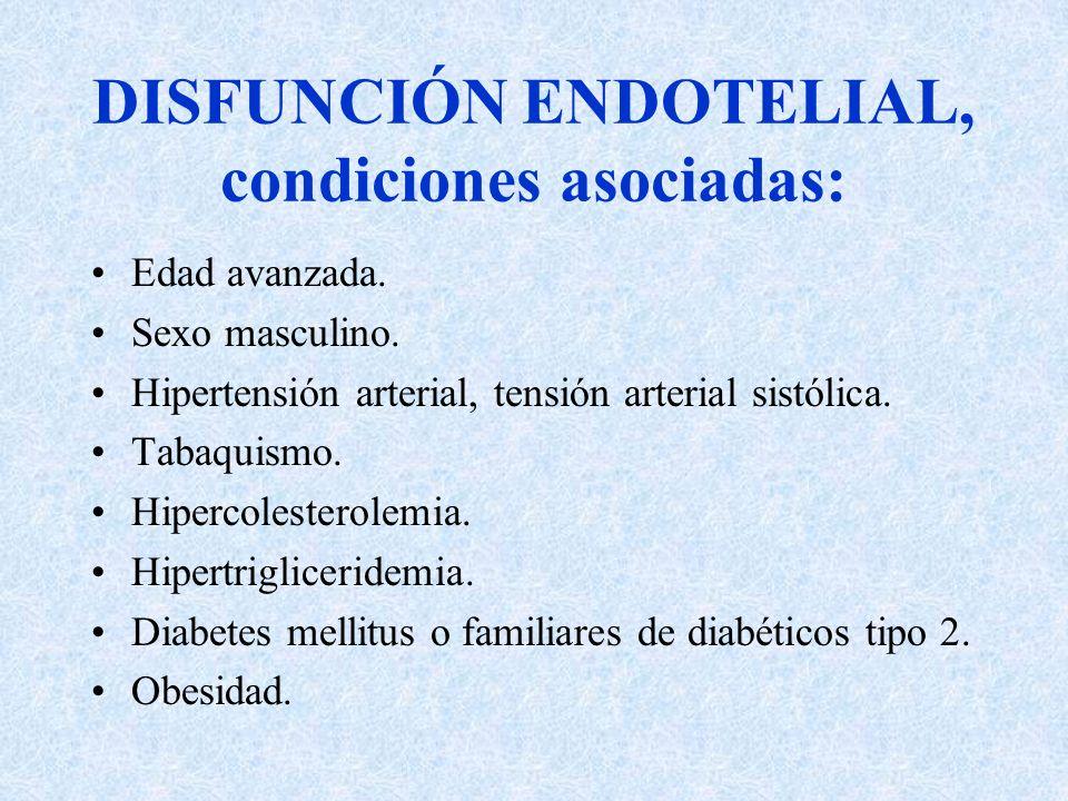 DISFUNCIÓN ENDOTELIAL, condiciones asociadas: Edad avanzada. Sexo masculino. Hipertensión arterial, tensión arterial sistólica. Tabaquismo. Hipercoles