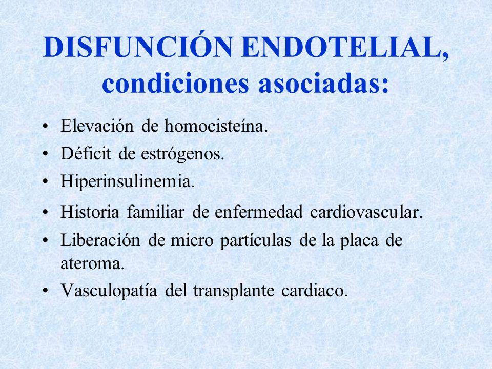DISFUNCIÓN ENDOTELIAL, condiciones asociadas: Elevación de homocisteína. Déficit de estrógenos. Hiperinsulinemia. Historia familiar de enfermedad card