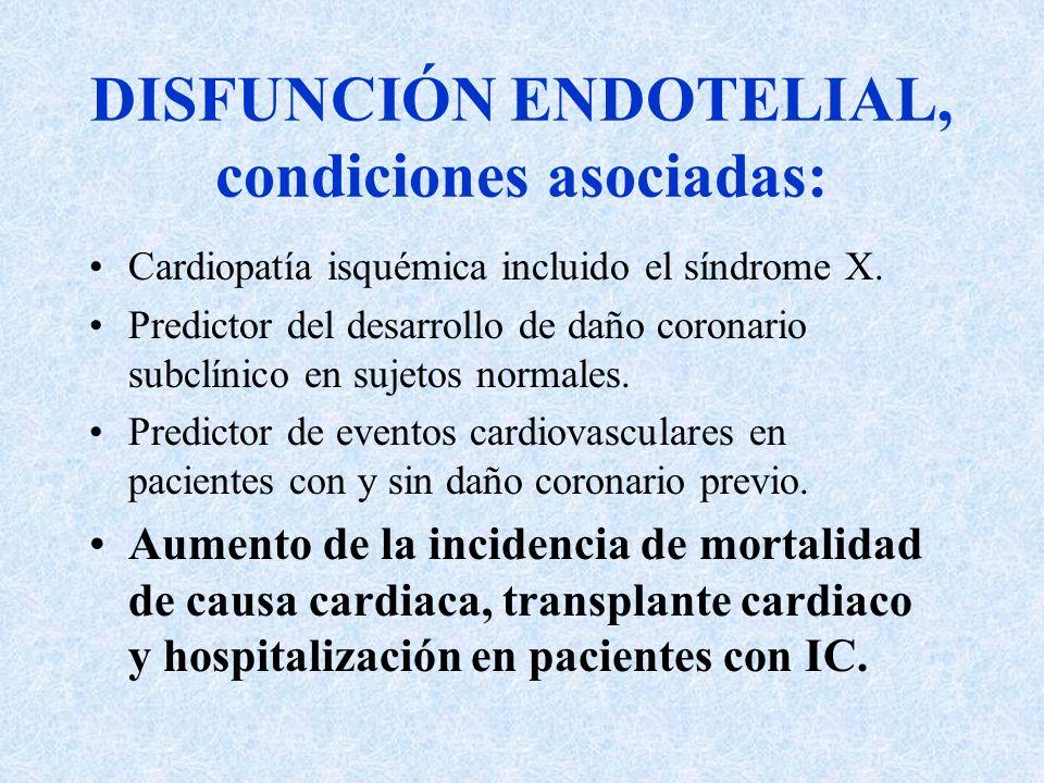 DISFUNCIÓN ENDOTELIAL, condiciones asociadas: Cardiopatía isquémica incluido el síndrome X. Predictor del desarrollo de daño coronario subclínico en s