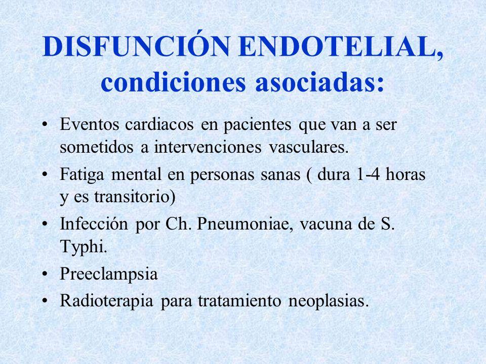 DISFUNCIÓN ENDOTELIAL, condiciones asociadas: Eventos cardiacos en pacientes que van a ser sometidos a intervenciones vasculares. Fatiga mental en per