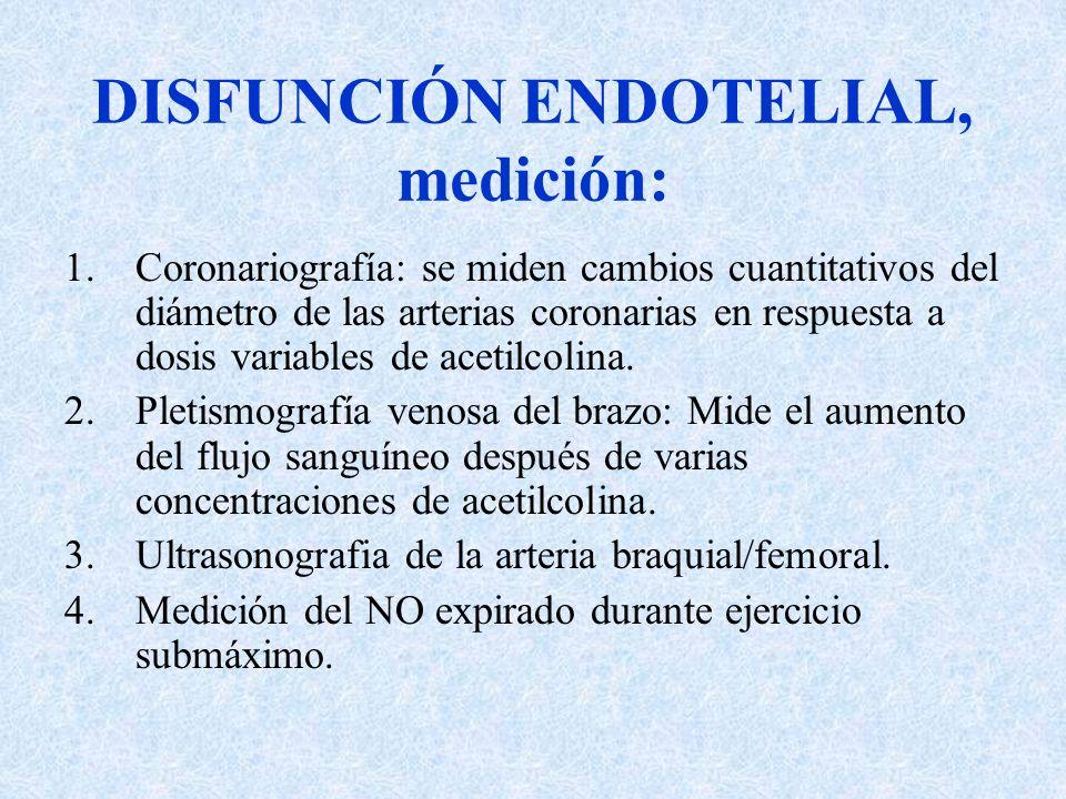 DISFUNCIÓN ENDOTELIAL, medición: 1.Coronariografía: se miden cambios cuantitativos del diámetro de las arterias coronarias en respuesta a dosis variab