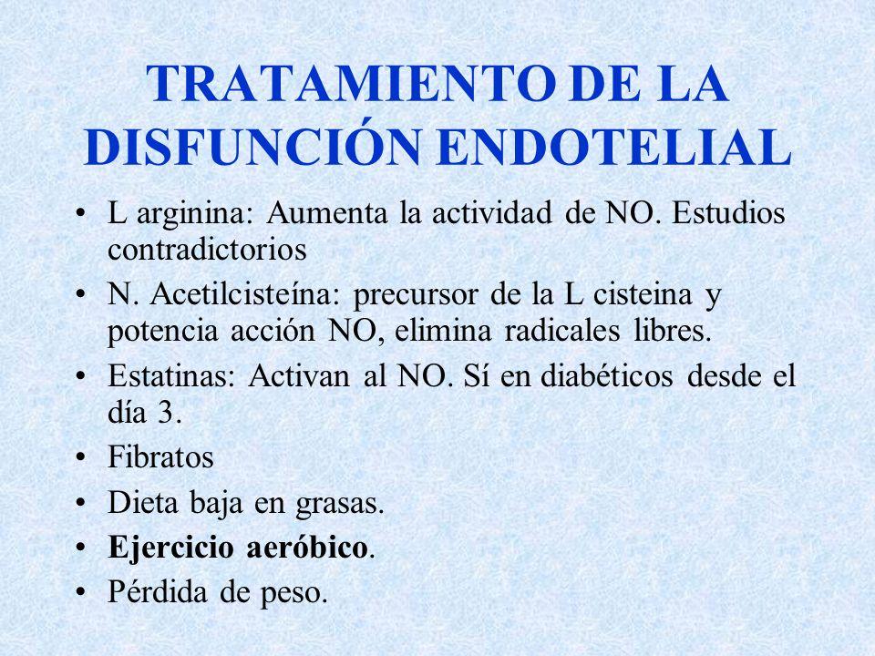 TRATAMIENTO DE LA DISFUNCIÓN ENDOTELIAL L arginina: Aumenta la actividad de NO. Estudios contradictorios N. Acetilcisteína: precursor de la L cisteina