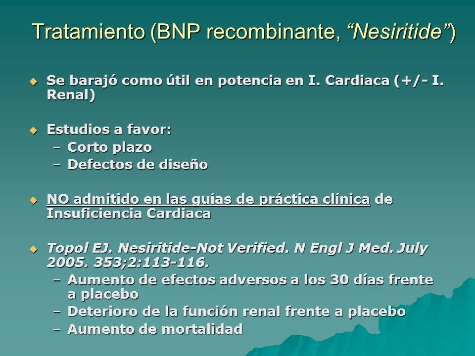 Tratamiento (BNP recombinante, Nesiritide) Se barajó como útil en potencia en I. Cardiaca (+/- I. Renal) Se barajó como útil en potencia en I. Cardiac
