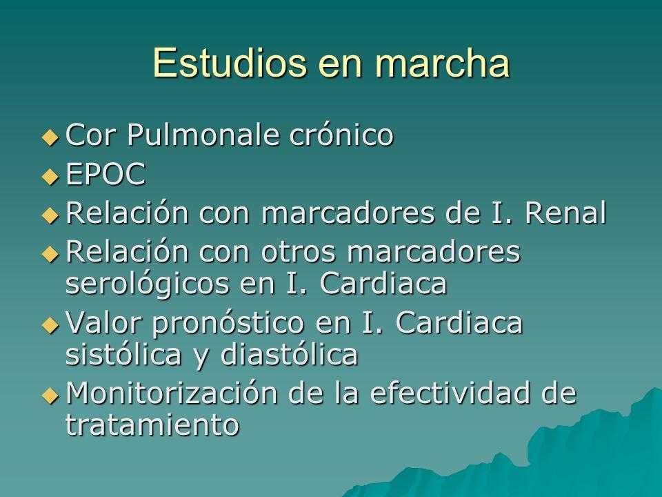 Estudios en marcha Cor Pulmonale crónico Cor Pulmonale crónico EPOC EPOC Relación con marcadores de I. Renal Relación con marcadores de I. Renal Relac